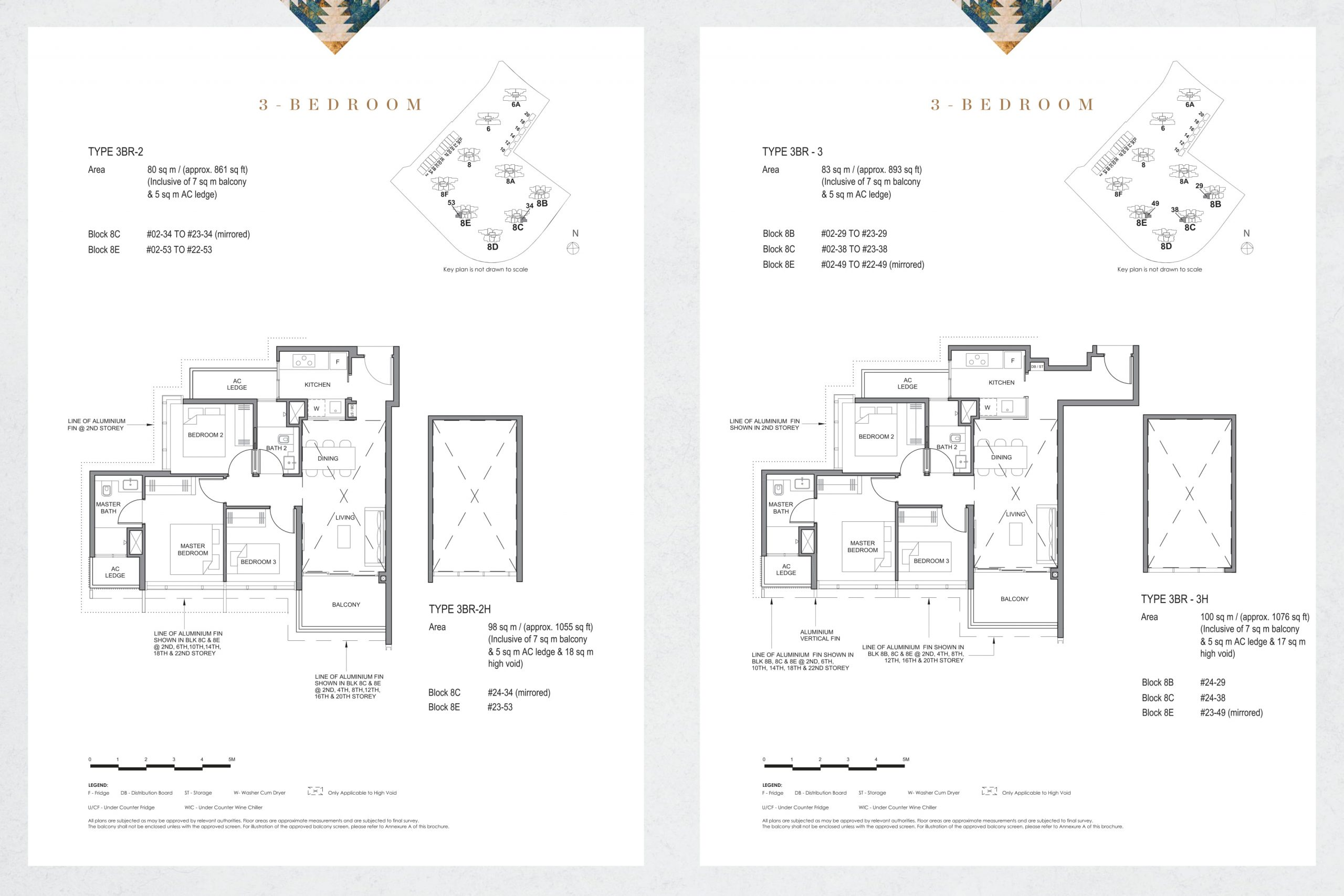 Parc Clematis' contemporary three-bedroom types