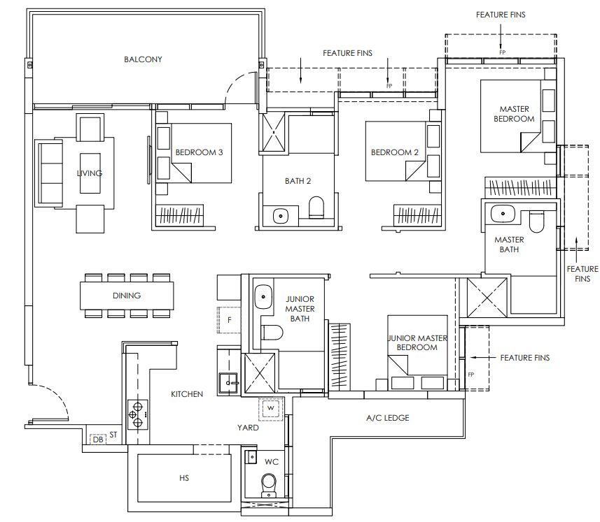 Provence Residence Floor Plan 4 bedroom D2