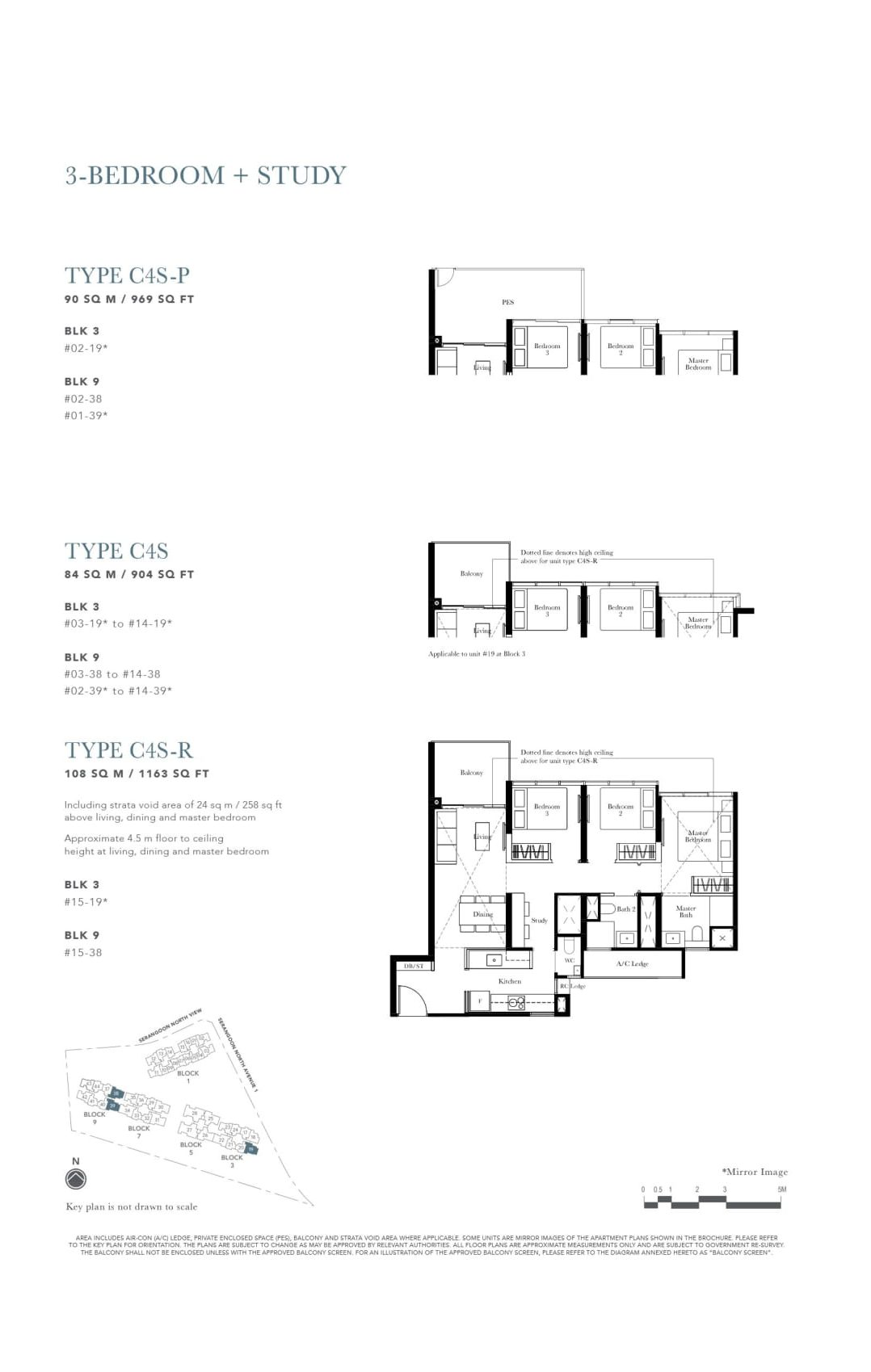 The Garden Residences' three-bedroom + study types