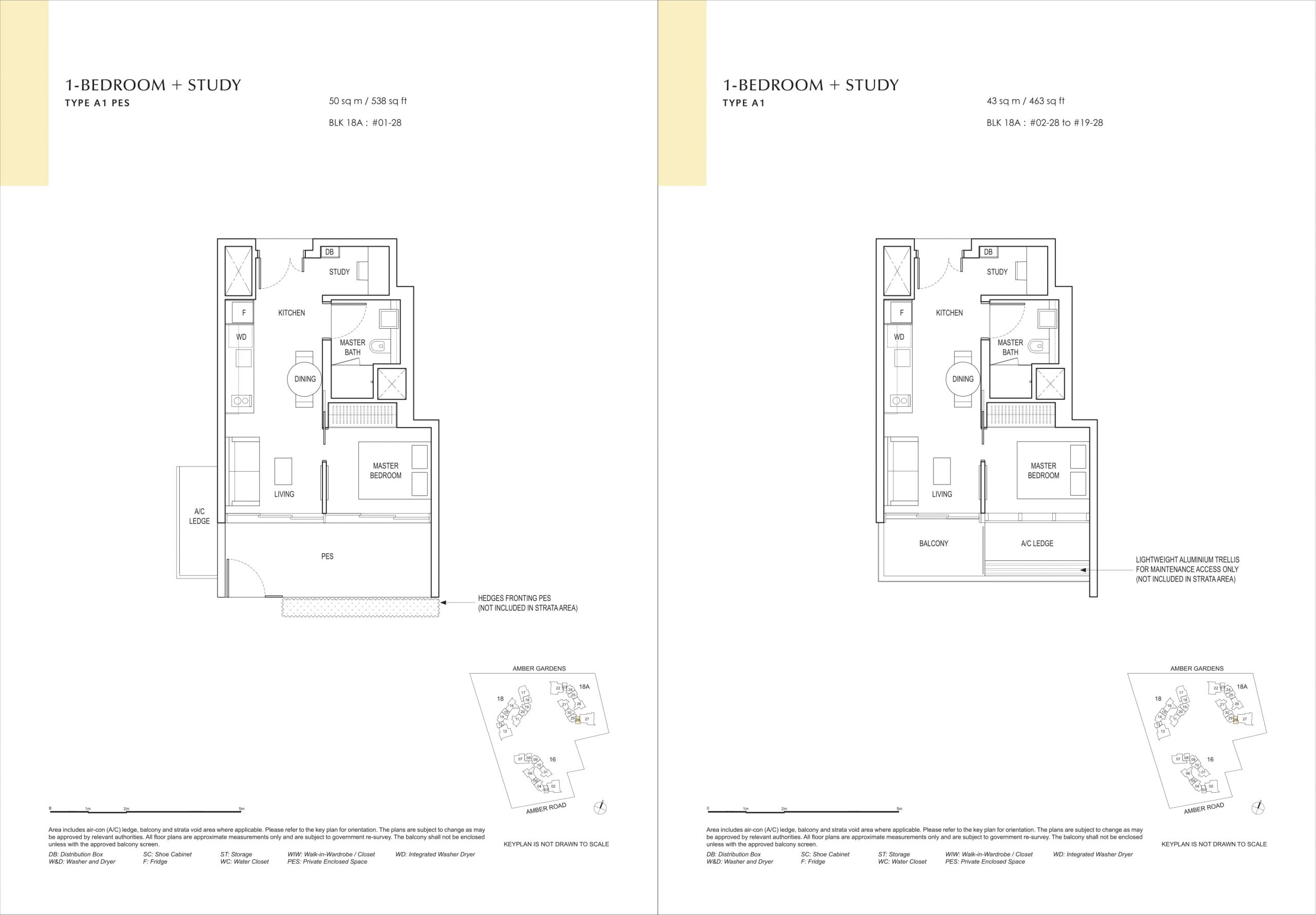 Amber Park's one-bedroom + (ensuite) study types