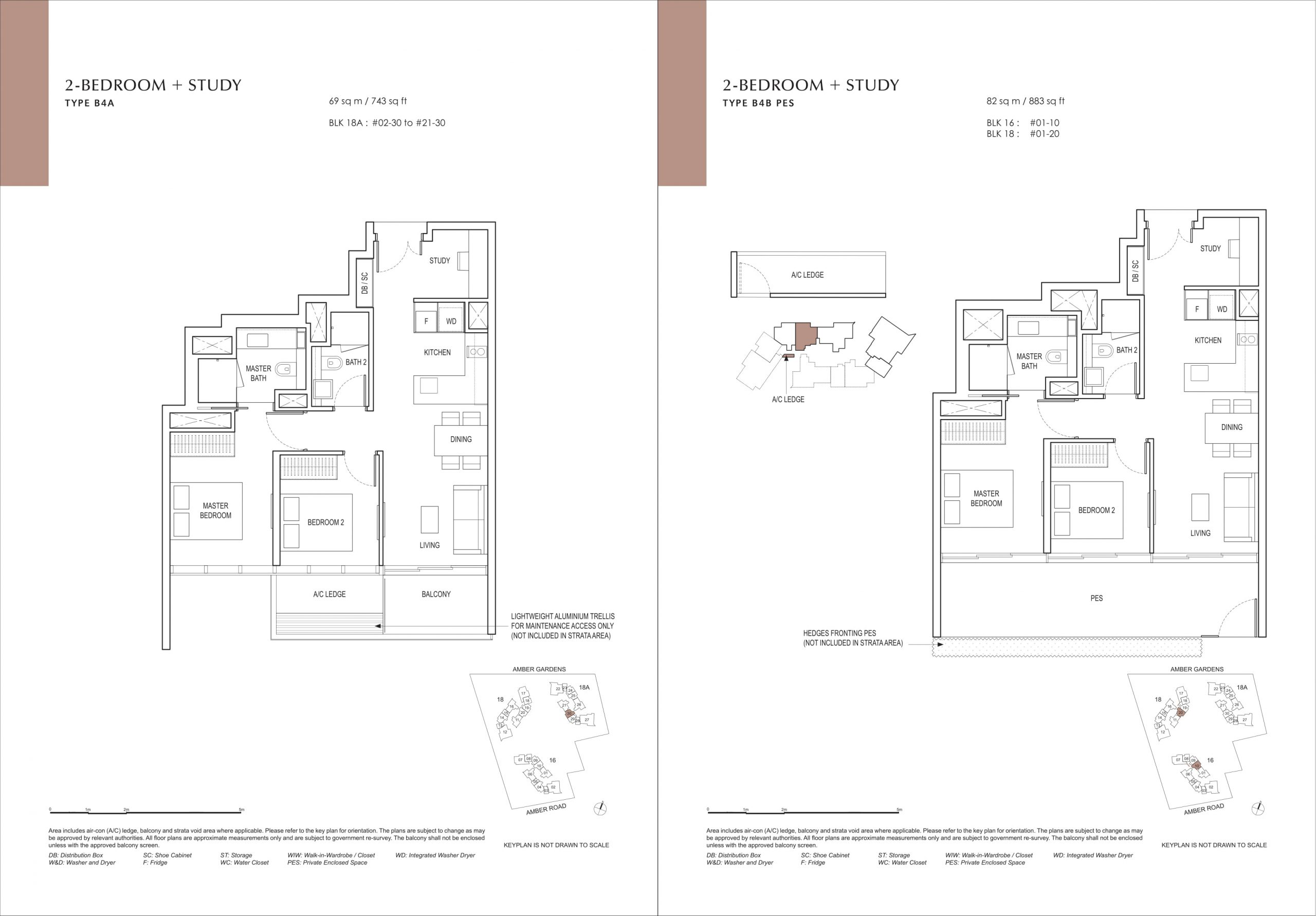 Amber Park's two-bedroom & two-bedroom + study types