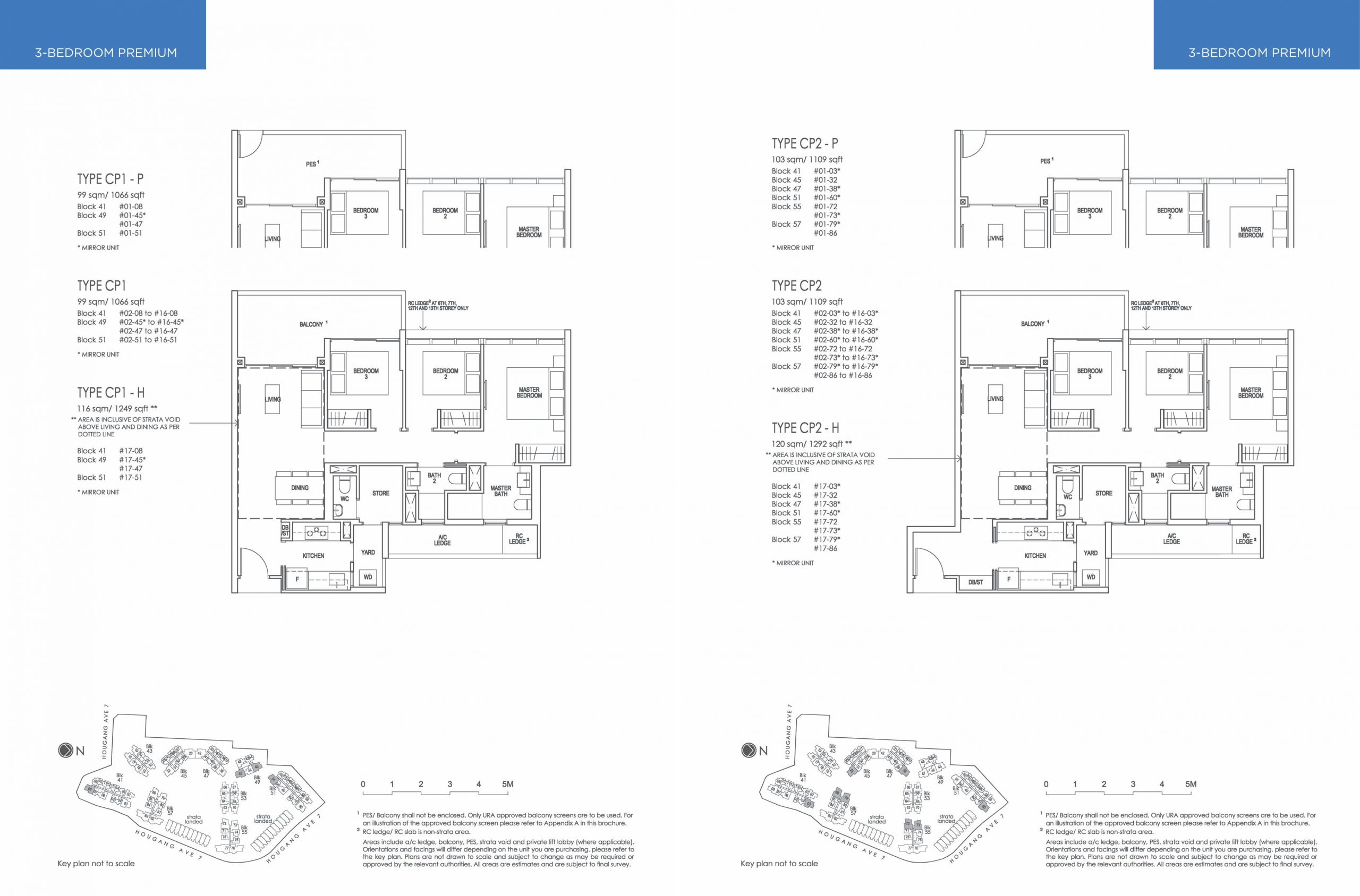 The Riverfront Residences' three-bedroom and three-bedroom premium types