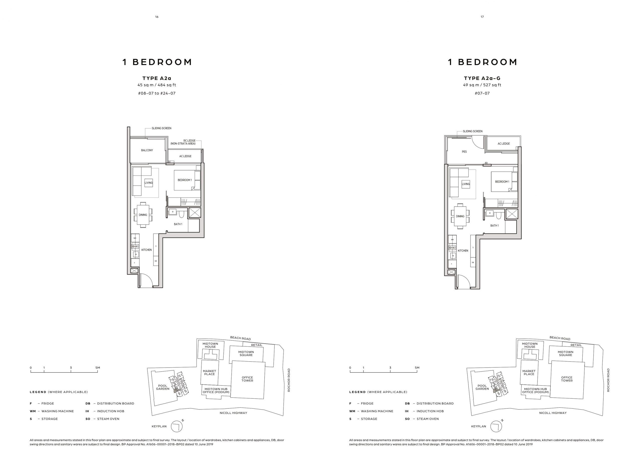 Midtown Bay's one-bedroom types