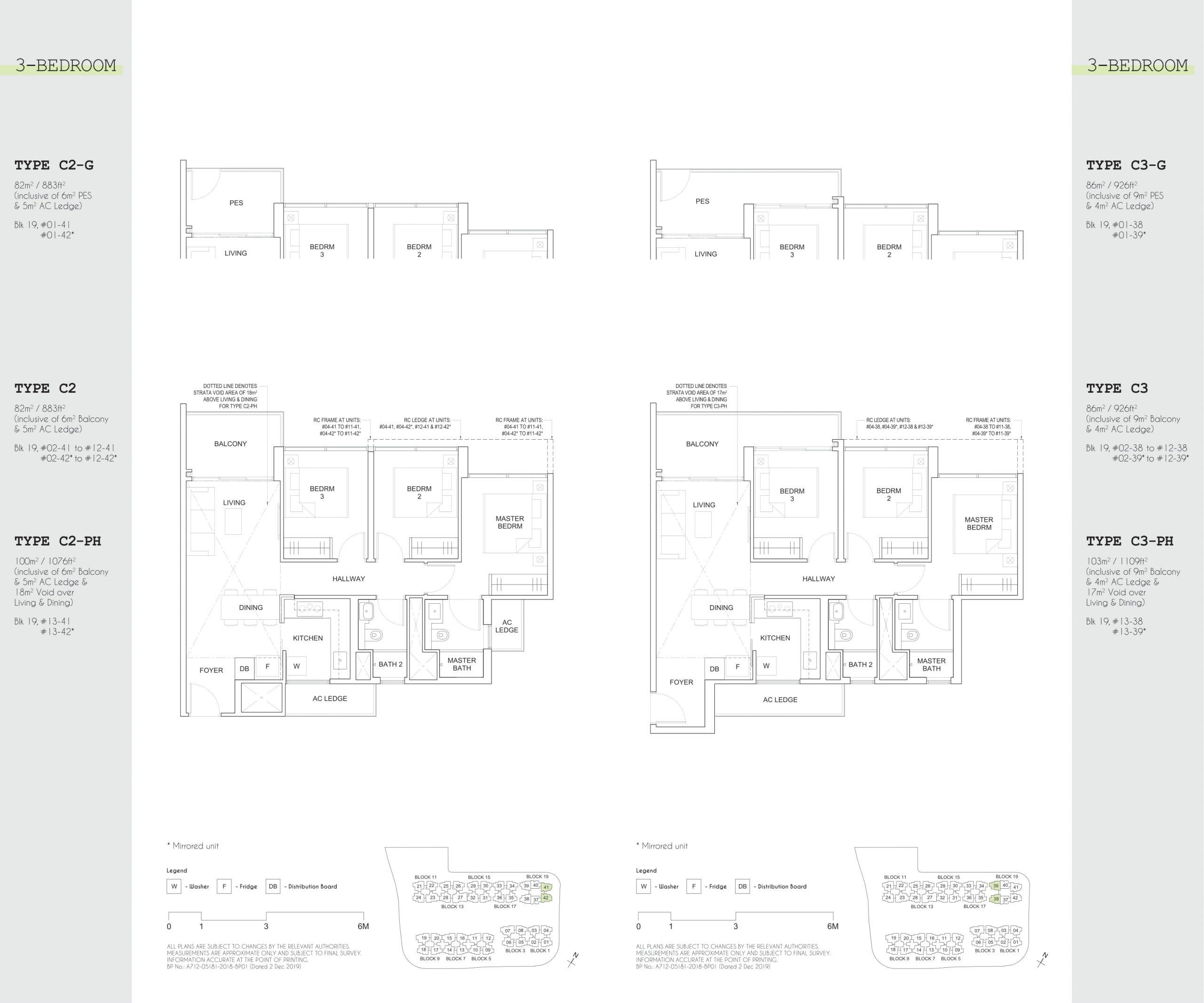 Parc Canberra EC's three-bedroom types