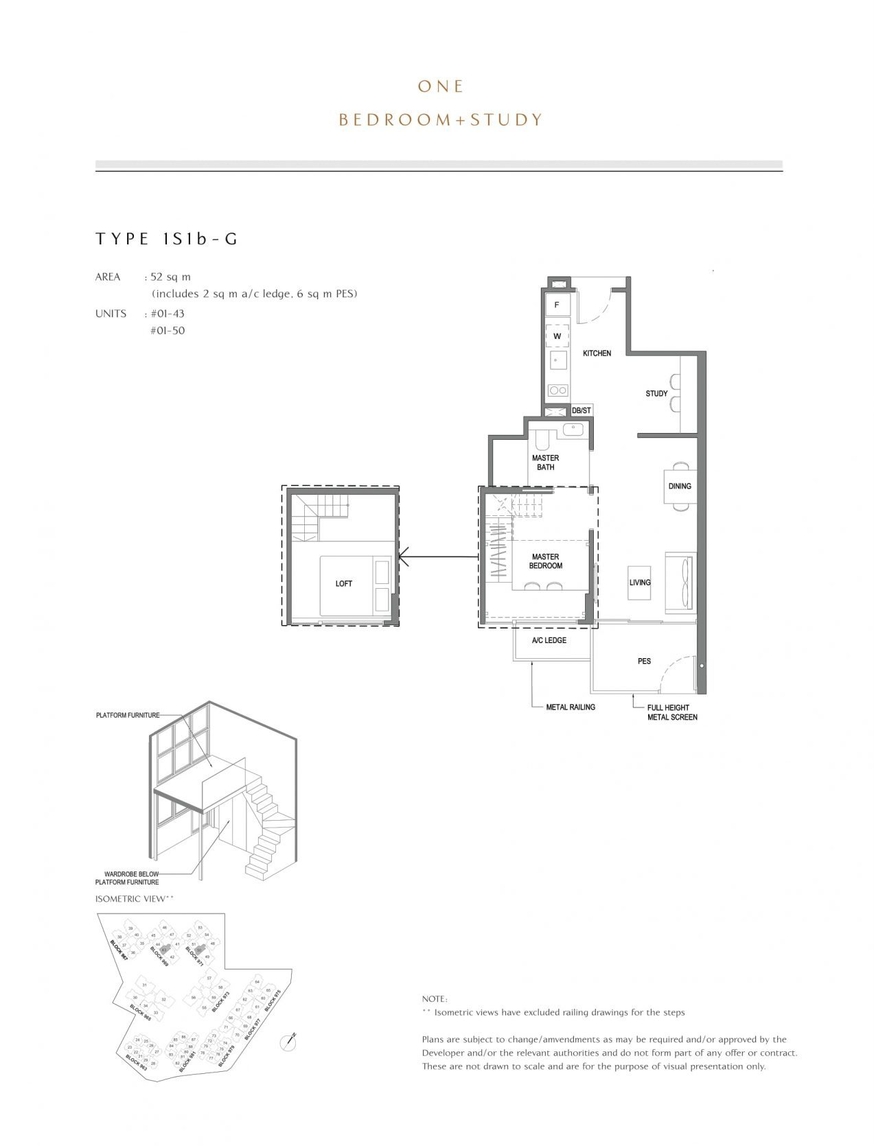 Parc Komo's one-bedroom + study types
