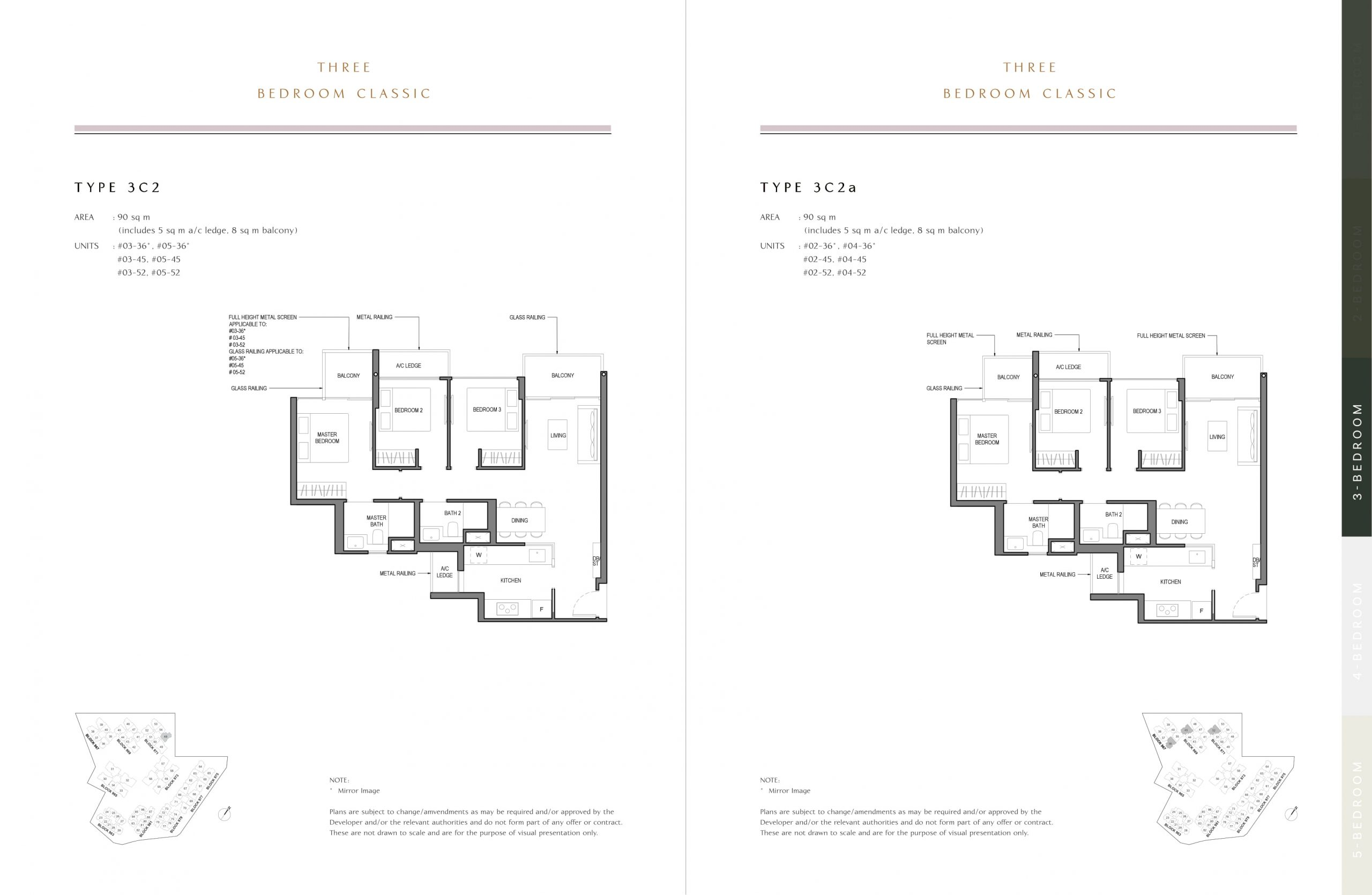 Parc Komo's three-bedroom classic types
