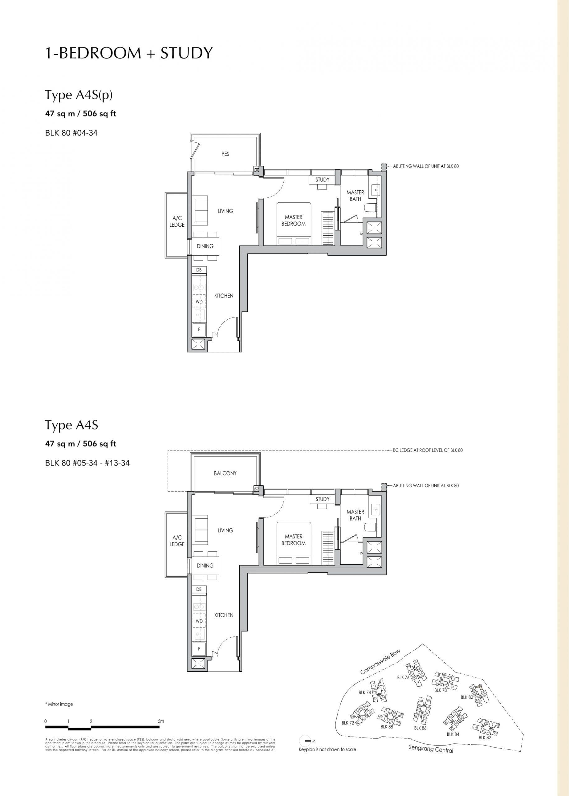 Sengkang Grand Residences' one-bedroom + study types