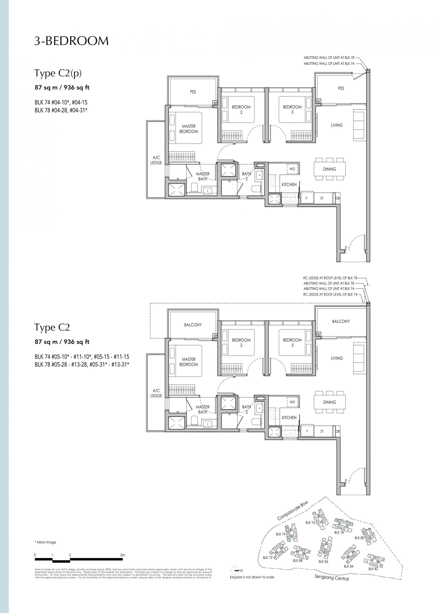 Sengkang Grand Residences' three-bedroom types