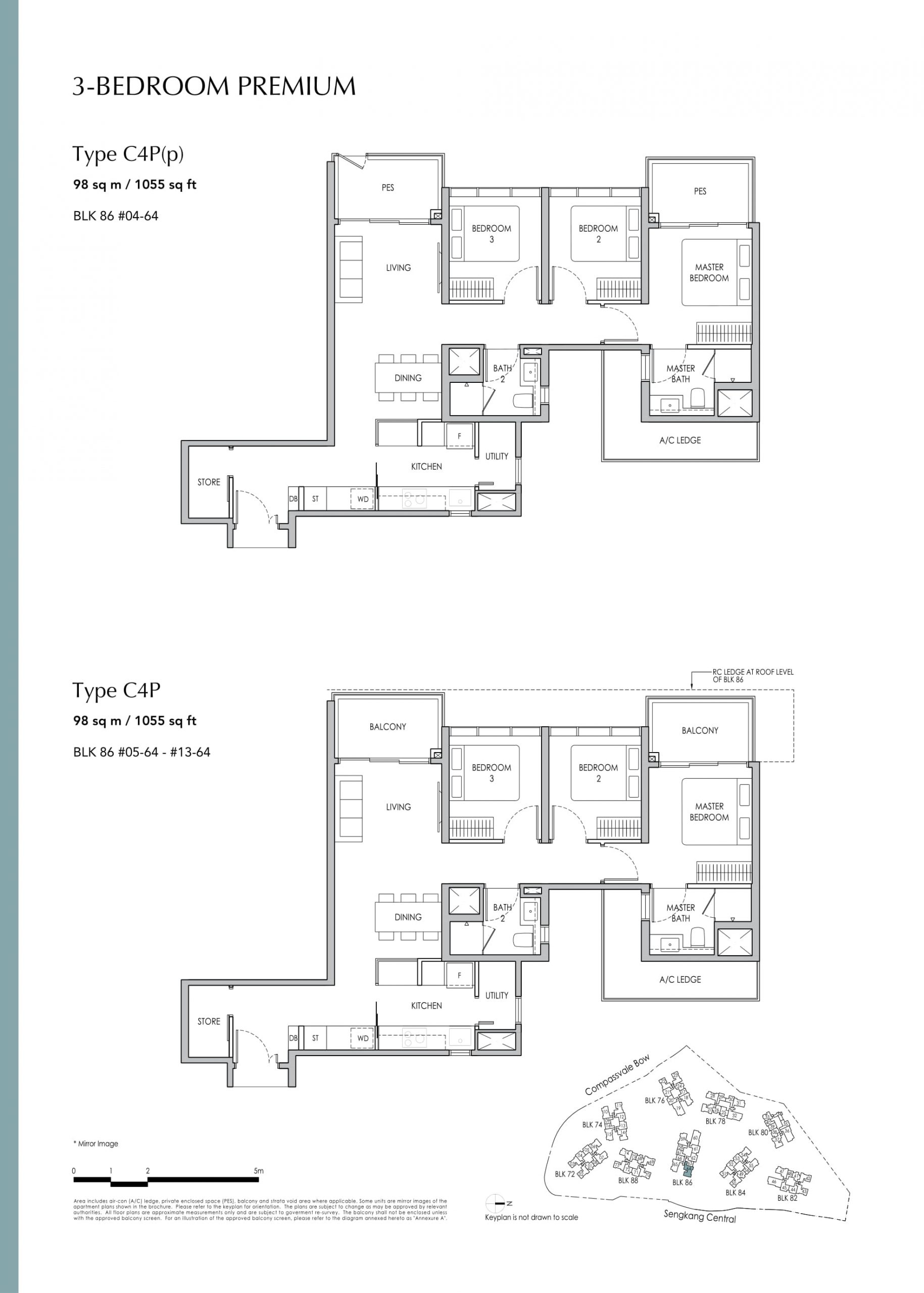 Sengkang Grand Residences' three-bedroom premium / + flexi types