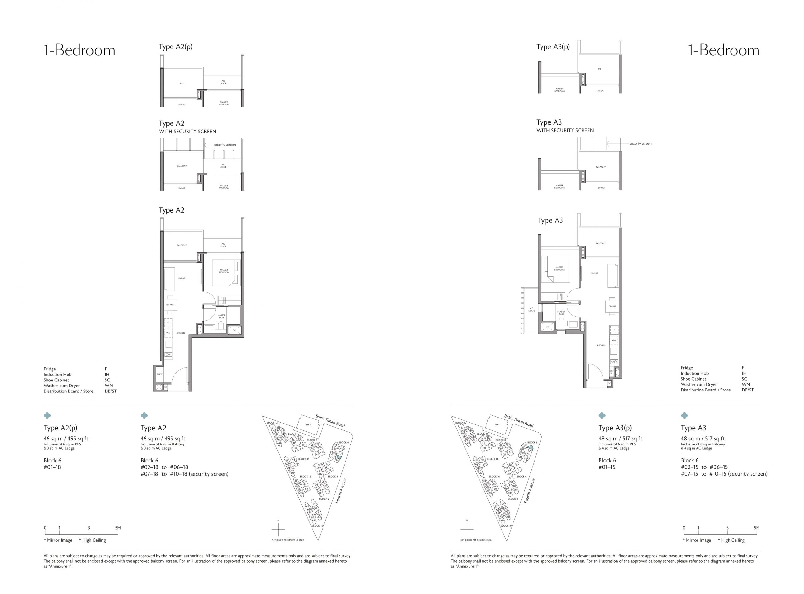 Fourth Avenue Residences' one-bedroom types