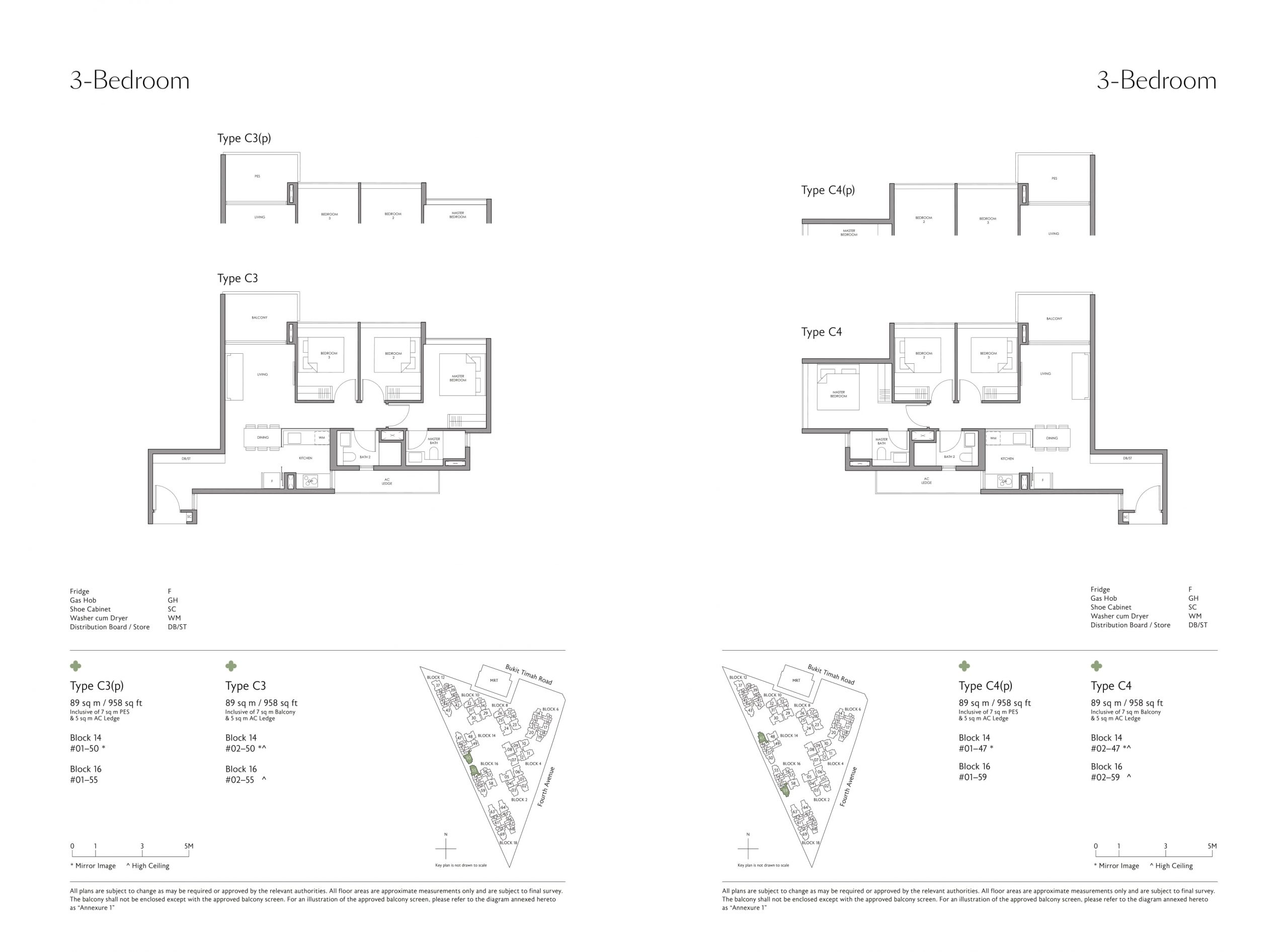 Fourth Avenue Residences' three-bedroom types