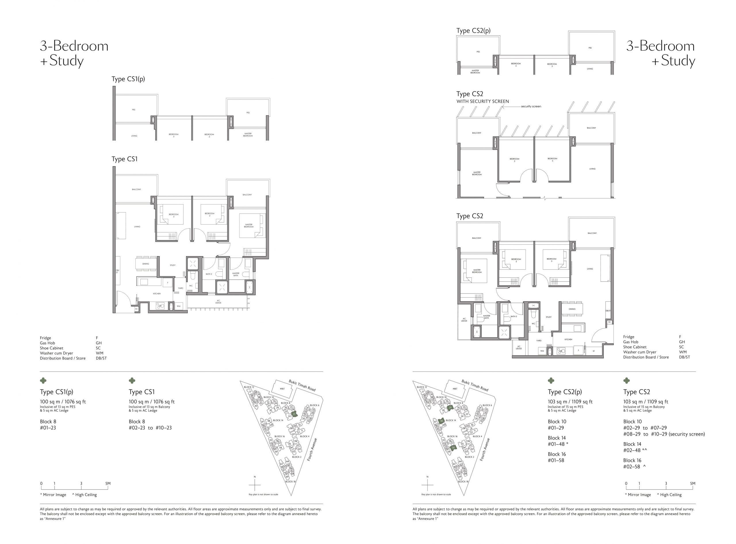Fourth Avenue Residences' three-bedroom + study types