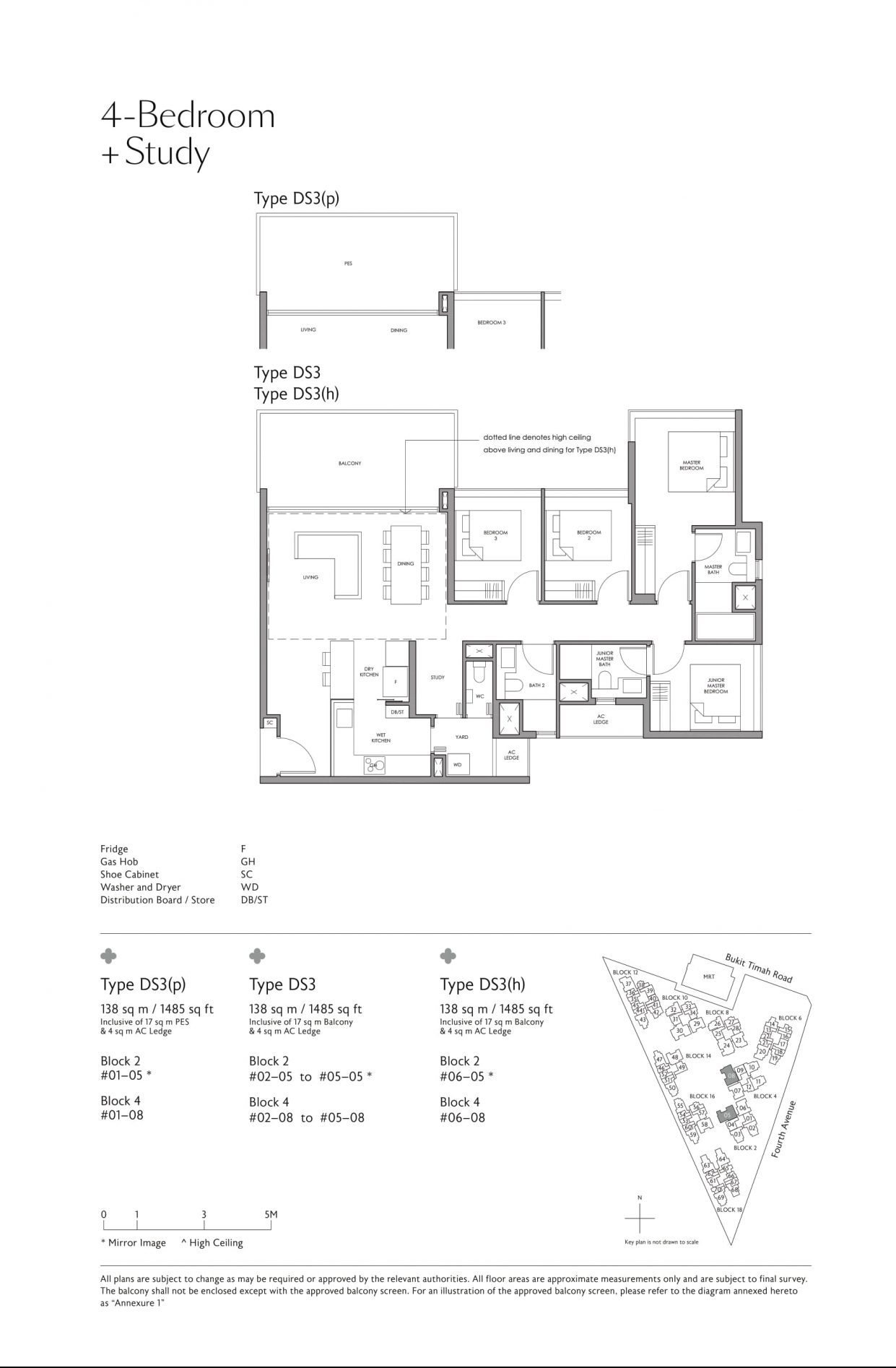 Fourth Avenue Residences' four-bedroom + study types