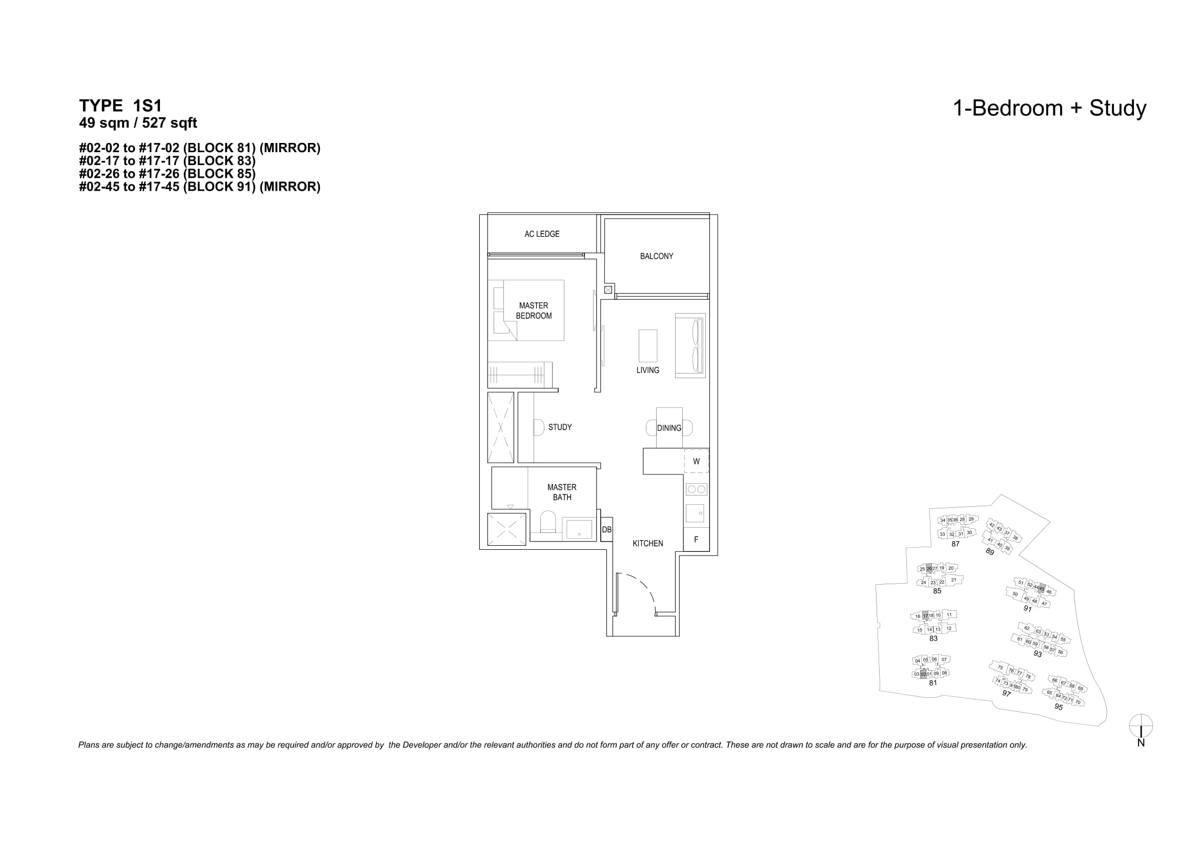 The Florence Residences' one-bedroom + study types