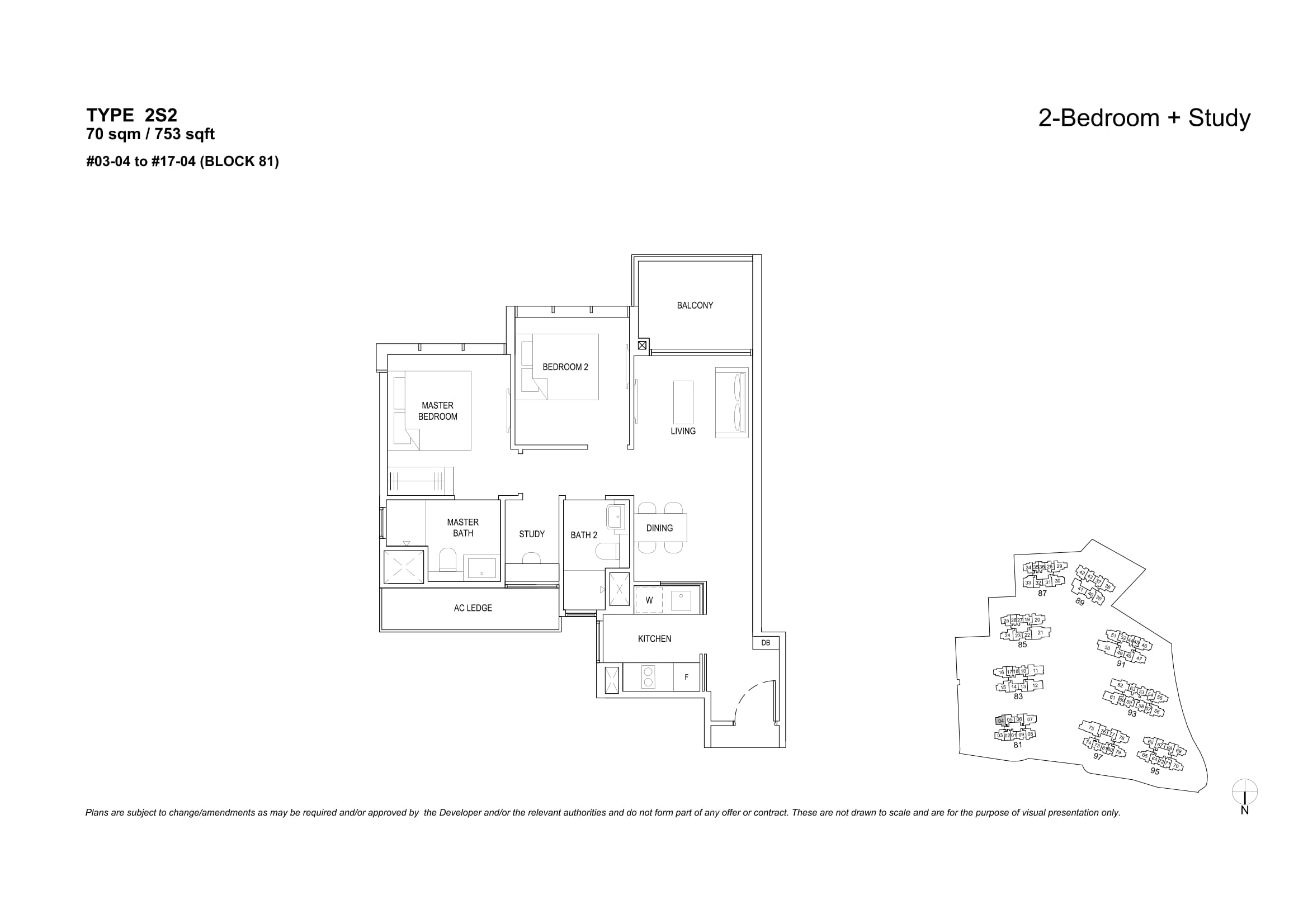 The Florence Residences' two-bedroom + study types