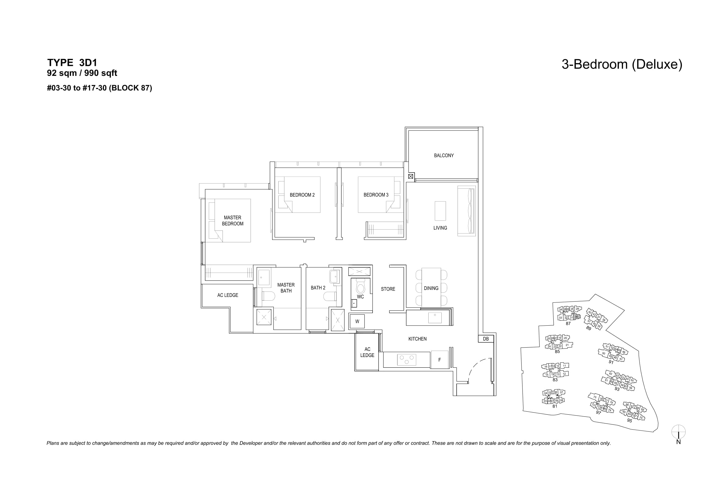 The Florence Residences' three-bedroom deluxe types