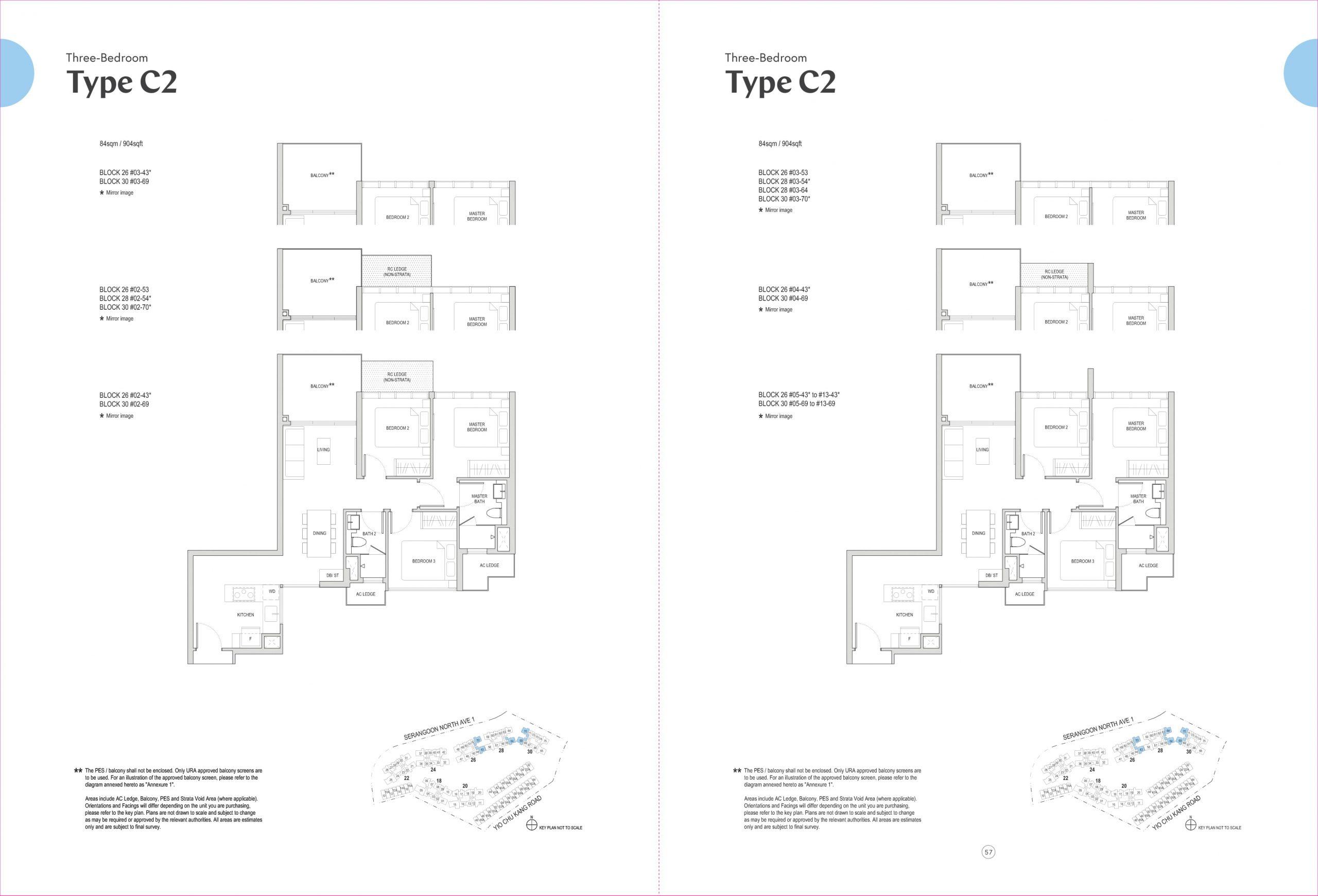 Affinity at Serangoon's three-bedroom types