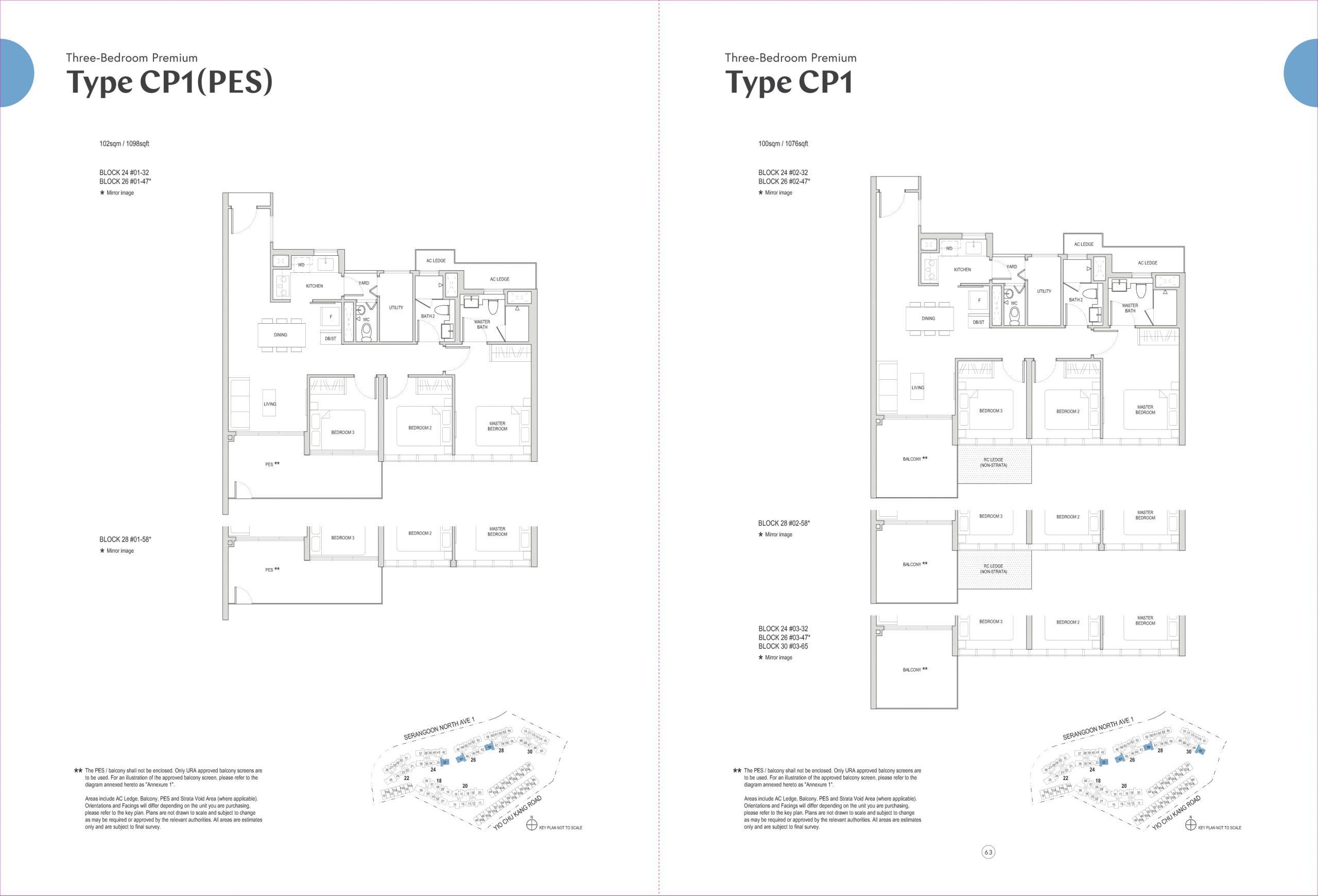 Affinity at Serangoon's three-bedroom premium and three-bedroom deluxe types
