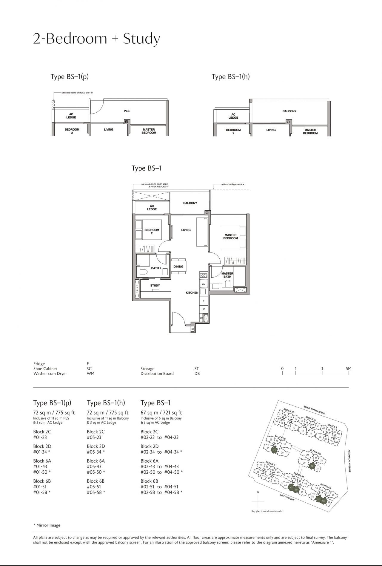 Royalgreen's two-bedroom + study & two-bedroom + guest types