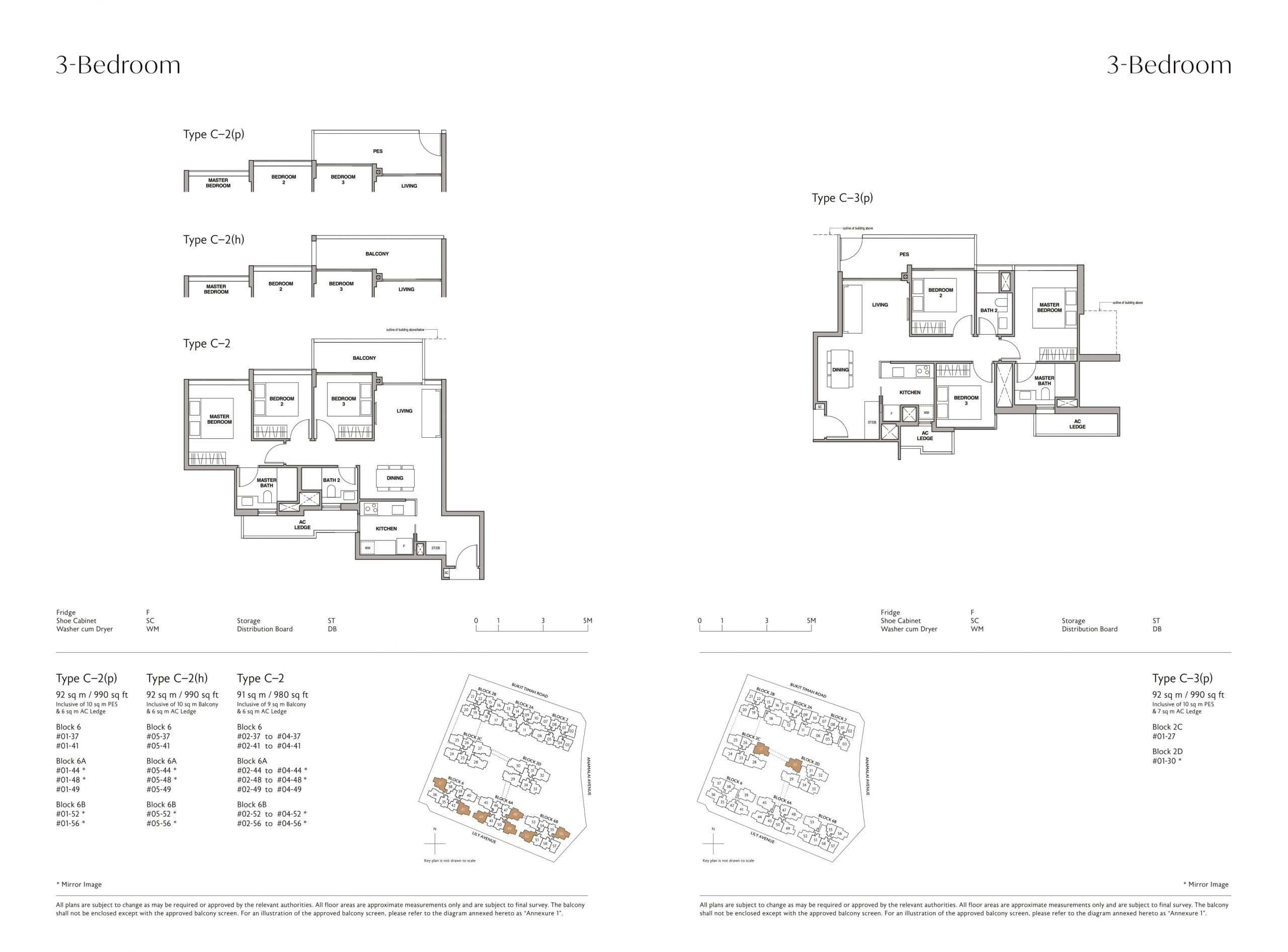 Royalgreen's three-bedroom & three-bedroom + study types