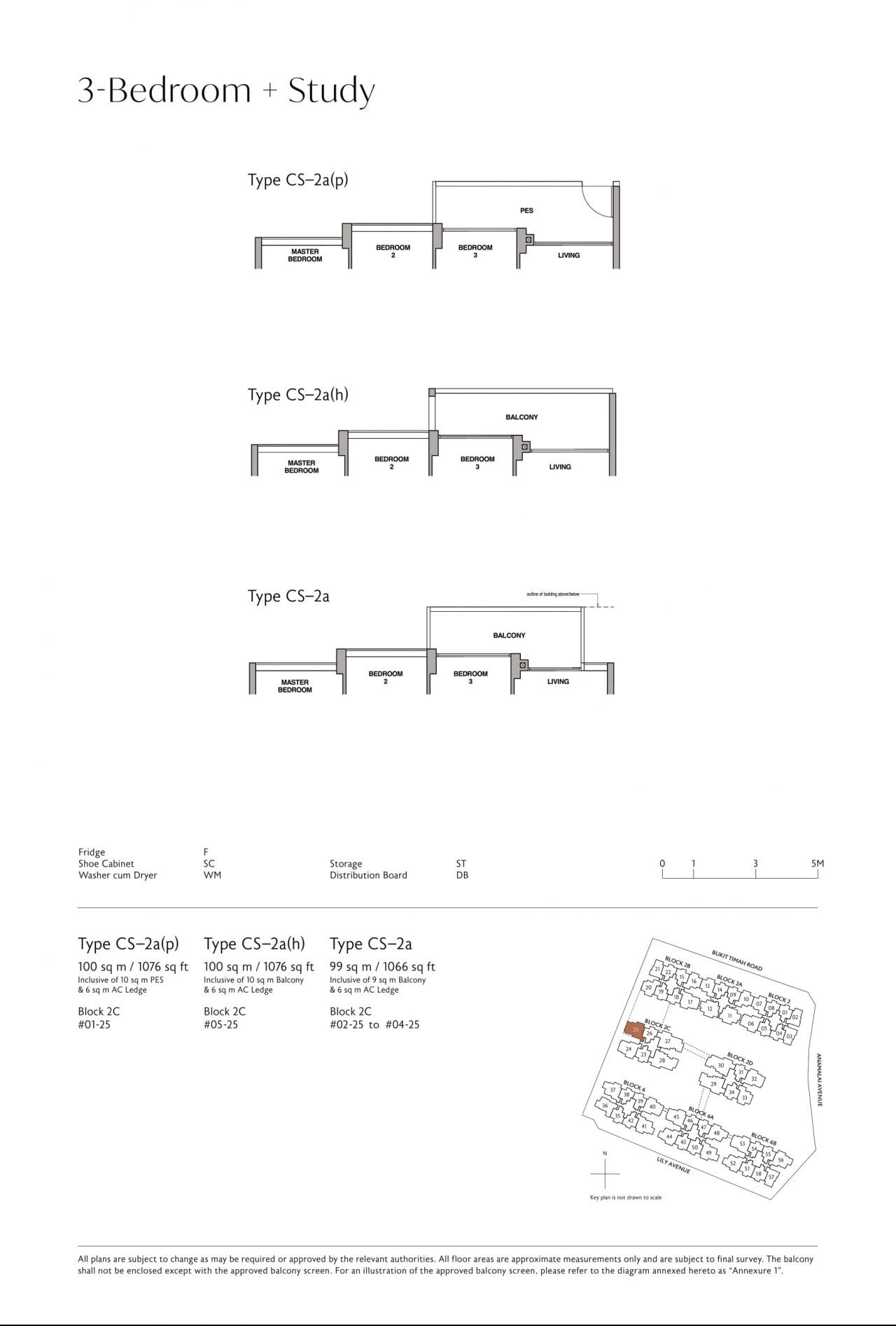 Royalgreen's three-bedroom & three-bedroom + study types