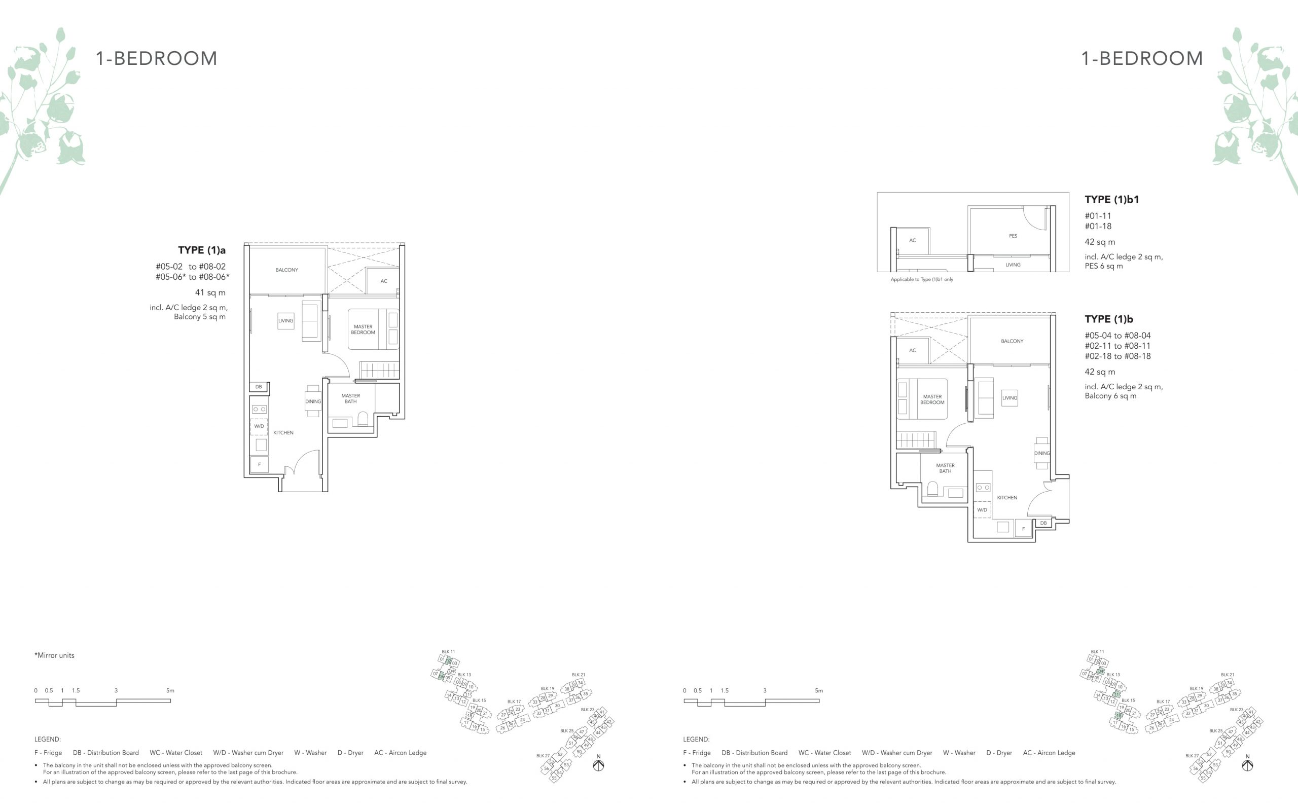 The Jovell's one-bedroom & one-bedroom with study types