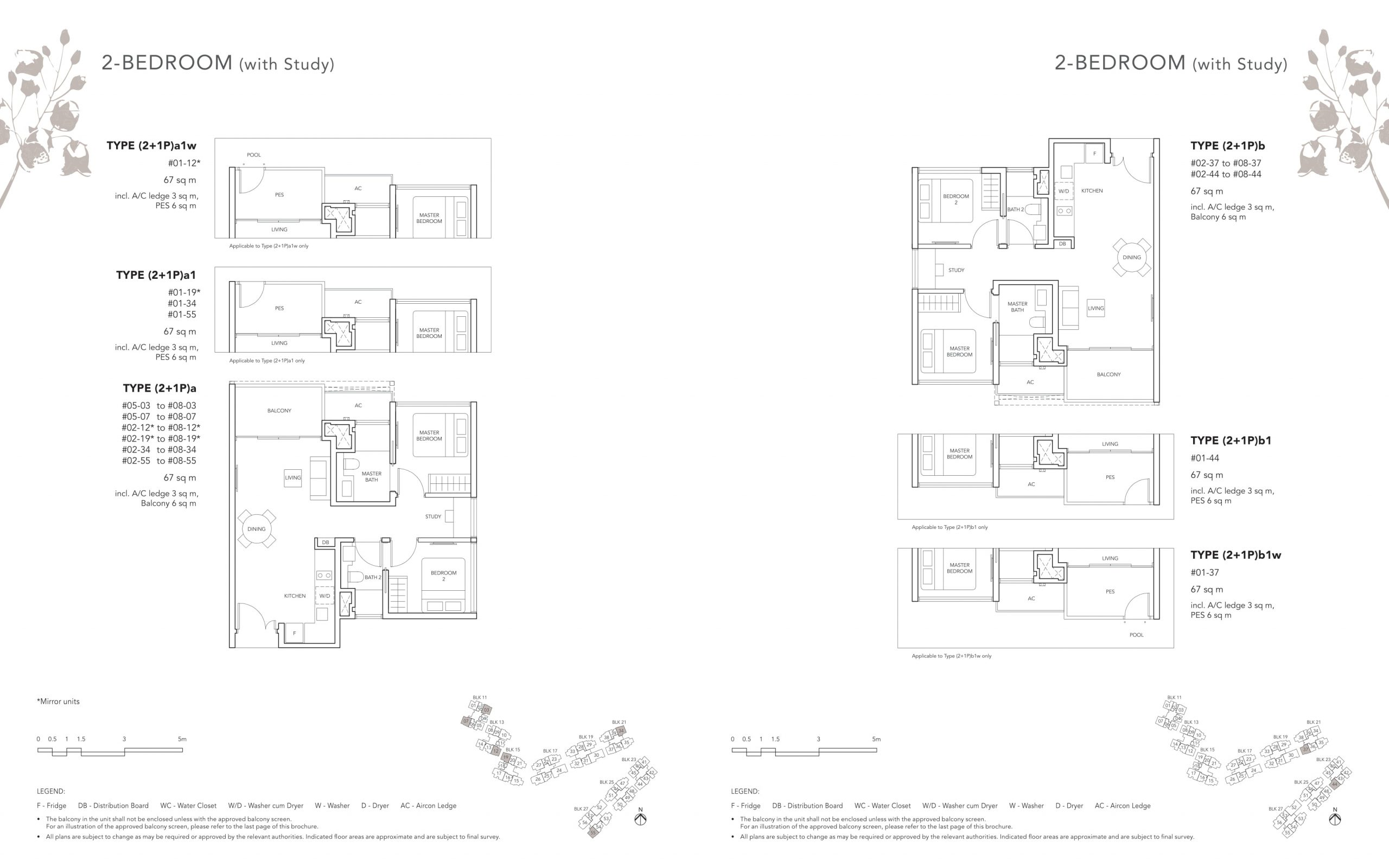 The Jovell's two-bedroom & two-bedroom with study types